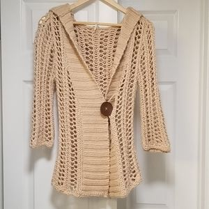 Free People crochet hoodie, extra small